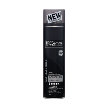 A 360g can of TRESemmé Salon Finish Extra Hold Lacquer front of pack image