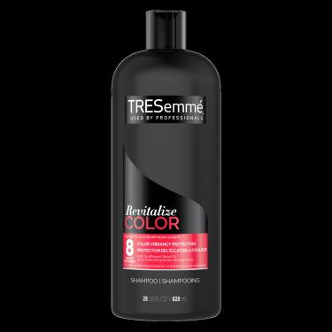 Image de l'avant de la bouteille de TRESemmé® Revitalize Colour Shampoo de 828 ml