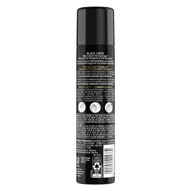 image du derrière de la bouteille de TRESemmé® Root Touch Up Spray for Black Hair 70.8g