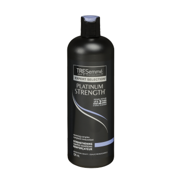 A 739 ml bottle of Platinum Strength Strengthening Shampoo front of pack image