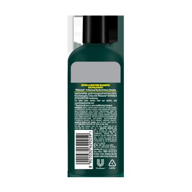 A 80ml bottle of Tresemme Botanique Detox & Restore Shampoo back of pack image