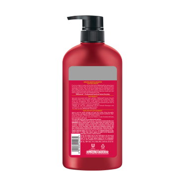 A 580ml bottle of Tresemme Keratin Smooth Shampoo back of pack image