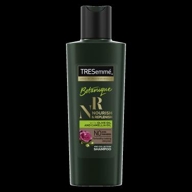 A 80ml bottle of TRESemmé Botanique Replenish Shampoo front of pack image
