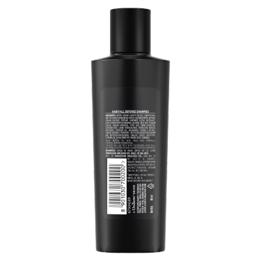 A 80ml bottle of TRESemmé Hair Fall Defense Shampoo back of pack image
