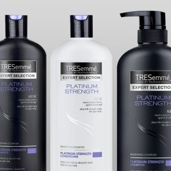 Product shot of the TRESemmé Platinum Strength collection