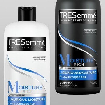 Product shot of TRESemmé Moisture Rich shampoo and conditioner
