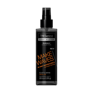 A 200ml tube of TRESemmé Runway Collection Make Waves Sculpt & Define Spray Gel front of pack image