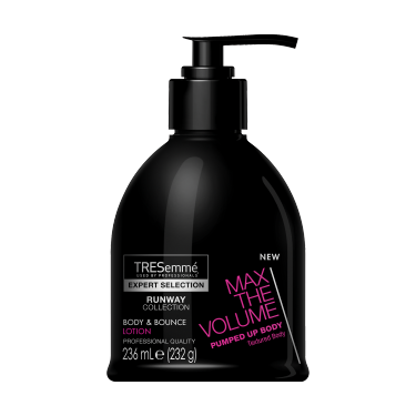 A 236ml tube of TRESemmé Runway Collection Max the Volume Body & Bounce Lotion front of pack image