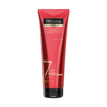 A 250ml bottle of TRESemmé 7 Day Smooth Shampoo front of pack image
