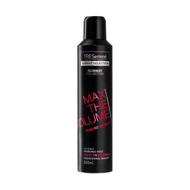 A 300ml can of TRESemmé Runway Collection Make Waves Creation Hairspray front of pack image