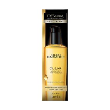 A 100ml bottle of TRESemmé Oleo Radiance Oil Elixir front of pack image