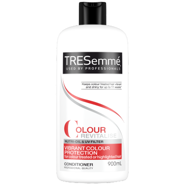 A 900ml bottle of TRESemmé Colour Revitalise Conditioner front of pack image