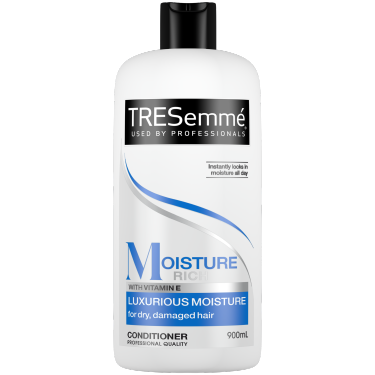 A 900ml bottle of TRESemmé Moisture Rich Conditioner front of pack image