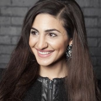Teni Panosian, one rear view of her holding her hair and the other of her facing the camera, wearing a black jacket