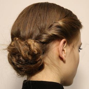 Model with chignon bun