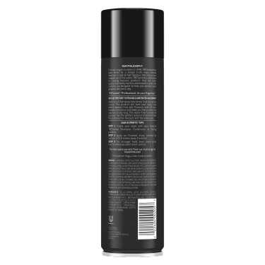 A 11oz can of TRESemmé TRES TWO Extra Hold Unscented Hair Spray for frizz control back of pack image