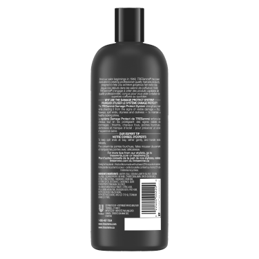 imagen al reverso del paquete - un envase de 28oz TRESemmé Damage Protect Shampoo