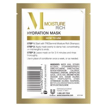 imagen al reverso del paquete - un envase de 1.5oz TRESemmé Moisture Rich Deep Conditioning Mask Sachet