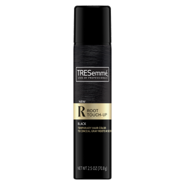 A 2.5oz can of TRESemmé Root Touch Up Spray for Black Hair front of pack image