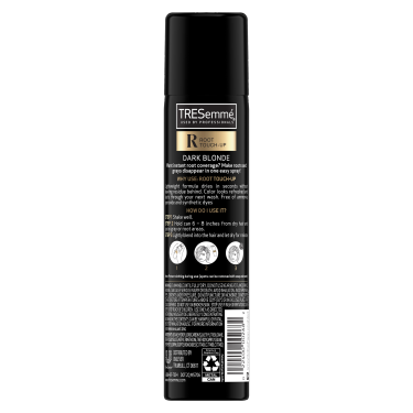 A 2.5oz can of TRESemmé Root Touch Up Spray for Dark Blonde Hair back of pack image
