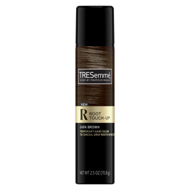 A 2.5oz can of TRESemmé Root Touch Up Spray for Dark Brown Hair front of pack image