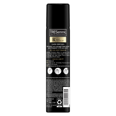 A 2.5oz can of TRESemmé Root Touch Up Spray for Dark Brown Hair back of pack image
