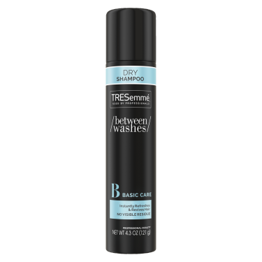 A 4.3oz can of TRESemmé Between Washes Basic Care Dry Shampoo front of pack image