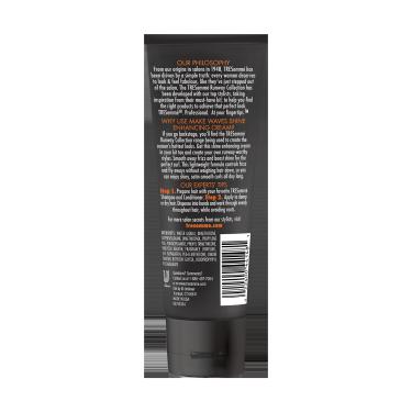 A 3.5oz bottle of TRESemmé Runway Collection Make Waves Shine Enhancing Cream back of pack image