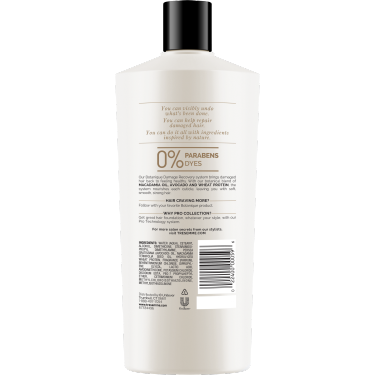 A 22oz bottle of TRESemmé Botanique Damage Recovery Conditioner back of pack image