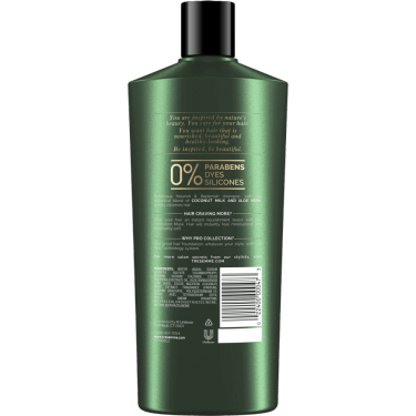 A 22oz bottle of TRESemmé Botanique Nourish and Replenish Shampoo back of pack image