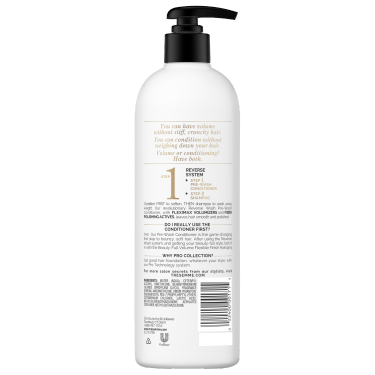 A 16.5oz bottle of TRESemmé Beauty-Full Volume Pre-Wash Conditioner back of pack image