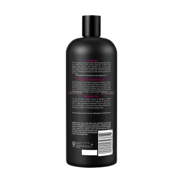 A 28oz bottle of TRESemmé 24 Hour Body Volume Shampoo back of pack image