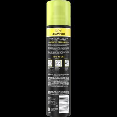 A 4.3oz can of TRESemmé Volumizing Dry Shampoo back of pack image