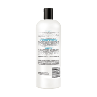 A 25oz bottle of TRESemmé Renewal Hair and Scalp Conditioner back of pack image