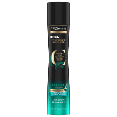 A 5.5oz bottle of TRESemmé Compressed Micro Mist Level 4 Hair Spray front of pack image