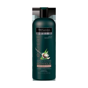 Imagen al frente del paquete - un envase de 25 oz TRESemmé Botanique Nourish and Replenish Shampoo - Imagen al reverso del paquete - un envase de 25 oz TRESemmé Botanique Nourish and Replenish Shampoo