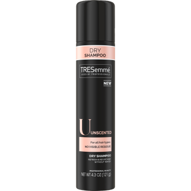 A 4.3oz bottle of TRESemmé Unscented Dry Shampoo front of pack image