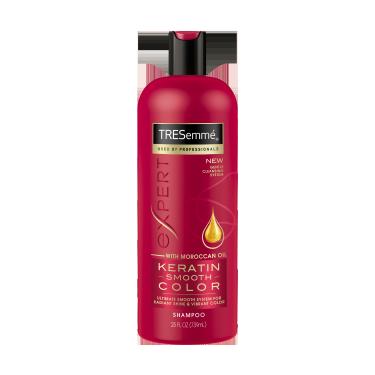 Imagen al frente del paquete - un envase de 25 oz TRESemmé Keratin Smooth Color Shampoo
