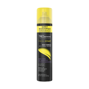 A 4.3oz can of TRESemmé Fresh Start Basic Dry Shampoo front of pack image