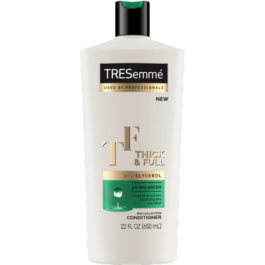 A 22oz bottle of TRESemmé Thick & Full Conditioner front of pack image