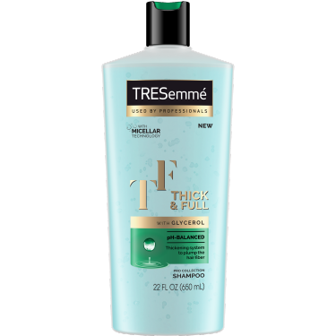 A 22oz bottle of TRESemmé Thick & Full Shampoo front of pack image