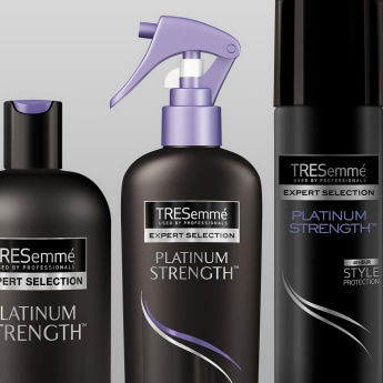Product shot of TRESemmé Platinum Strength collection
